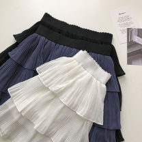 skirt Summer 2021 Average size Black, white, blue Short skirt commute High waist Pleated skirt Solid color Type A 18-24 years old 51% (inclusive) - 70% (inclusive) fold Korean version