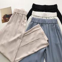 Casual pants Black, apricot, blue, white S,M,L Summer 2021 trousers Wide leg pants High waist commute routine 18-24 years old 51% (inclusive) - 70% (inclusive) Korean version pocket