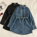 Dress Winter of 2019 Dark grey, blue, dark blue Average size Mid length dress singleton  Long sleeves commute Polo collar Solid color Single breasted routine 18-24 years old Korean version
