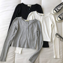 T-shirt Black, white, grey Average size Spring 2021 Long sleeves Crew neck Self cultivation have cash less than that is registered in the accounts commute other 51% (inclusive) - 70% (inclusive) 18-24 years old Korean version Solid color Button