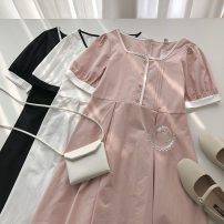 Dress Summer 2021 Pink, blue, white, black Average size Mid length dress singleton  Short sleeve commute square neck Solid color Single breasted 18-24 years old Type A Korean version 51% (inclusive) - 70% (inclusive)