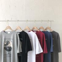 T-shirt Black, dark grey, red, white, dark blue, flower grey Average size Summer 2021 Short sleeve Crew neck easy Regular commute other 51% (inclusive) - 70% (inclusive) 18-24 years old Korean version letter printing