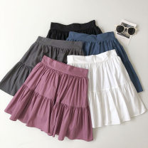 skirt Summer 2021 Average size Gray, white, blue, black, pink Short skirt commute High waist Solid color Type A 18-24 years old 51% (inclusive) - 70% (inclusive) fold Korean version