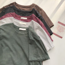 T-shirt Red, white, black, brown, green Average size Summer 2021 Short sleeve Crew neck Straight cylinder Regular commute other 51% (inclusive) - 70% (inclusive) 18-24 years old Korean version
