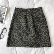 skirt Spring 2021 S,M,L Green, coffee Short skirt commute High waist Leopard Print Type A 18-24 years old 51% (inclusive) - 70% (inclusive) zipper Korean version