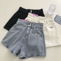 Jeans Summer 2021 Black, white, blue S,M,L shorts High waist Wide legged trousers routine 18-24 years old Button 51% (inclusive) - 70% (inclusive)