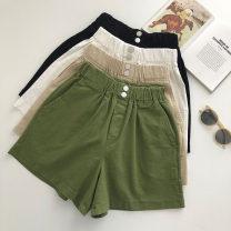 Casual pants Black, white, khaki, green S,M,L Summer 2021 shorts Wide leg pants High waist commute routine 18-24 years old 51% (inclusive) - 70% (inclusive) Korean version