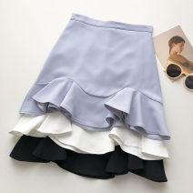 skirt Summer 2021 S,M,L Black, white, blue Short skirt commute High waist Ruffle Skirt Solid color Type A 18-24 years old 51% (inclusive) - 70% (inclusive) Auricularia auricula, zipper Korean version