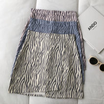 skirt Spring 2021 S,M,L Blue, apricot, pink Short skirt commute High waist Zebra pattern Type A 18-24 years old 51% (inclusive) - 70% (inclusive) zipper Korean version