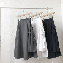 skirt Summer 2021 Average size Black, white, dark grey Mid length dress commute High waist Solid color Type A 18-24 years old 51% (inclusive) - 70% (inclusive) pocket Korean version