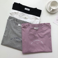 T-shirt Purple, black, white, gray Average size Summer 2021 Short sleeve Crew neck easy Regular commute other 51% (inclusive) - 70% (inclusive) 18-24 years old Korean version Solid color, letter printing