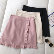 skirt Summer 2021 S,M,L Black, apricot, pink Short skirt commute High waist Solid color Type A 18-24 years old 51% (inclusive) - 70% (inclusive) fungus Korean version