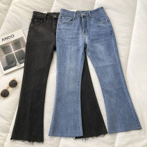 Jeans Winter 2020 Black, blue S,M,L trousers High waist Flared trousers routine 18-24 years old 51% (inclusive) - 70% (inclusive)