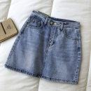 skirt Summer 2021 S,M,L blue Short skirt commute High waist Solid color Type A 18-24 years old 51% (inclusive) - 70% (inclusive) cotton pocket Korean version