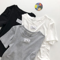 T-shirt Black, white, grey Average size Summer 2021 Short sleeve Crew neck Self cultivation have cash less than that is registered in the accounts commute other 51% (inclusive) - 70% (inclusive) 18-24 years old Korean version Solid color