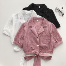 shirt White, black, deep pink Average size Summer 2021 other 51% (inclusive) - 70% (inclusive) Short sleeve commute Short style (40cm < length ≤ 50cm) tailored collar Single row multi button Solid color 18-24 years old Straight cylinder Korean version Button