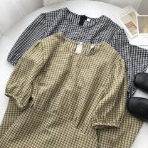 Dress Summer 2021 Green, grey Average size Mid length dress singleton  Short sleeve commute Crew neck lattice zipper routine 18-24 years old Type A Korean version Frenulum 51% (inclusive) - 70% (inclusive)