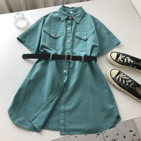 Dress Summer 2021 Average size Short skirt singleton  Short sleeve commute Polo collar Solid color Single breasted routine 18-24 years old Type A Korean version Frenulum 51% (inclusive) - 70% (inclusive)