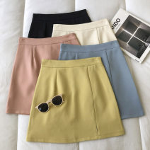 skirt Spring 2021 S,M,L Yellow, apricot, orange, blue, black Short skirt commute High waist Solid color Type A 18-24 years old 51% (inclusive) - 70% (inclusive) zipper Korean version