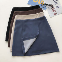 skirt Summer 2021 S,M,L Brown, blue, apricot, black Short skirt commute High waist Solid color Type A 18-24 years old 51% (inclusive) - 70% (inclusive) zipper Korean version