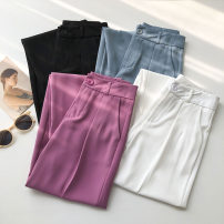 Casual pants Black, rose, white, blue S,M,L Summer 2021 trousers Wide leg pants High waist commute routine 18-24 years old 51% (inclusive) - 70% (inclusive) Korean version