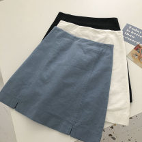 skirt Summer 2021 S,M,L Blue, white, black Short skirt commute High waist Solid color Type A 18-24 years old 51% (inclusive) - 70% (inclusive) zipper Korean version