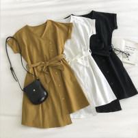 Dress Summer 2020 White, black, yellow Average size Middle-skirt singleton  Short sleeve commute V-neck Solid color Socket 18-24 years old Type A Korean version Frenulum