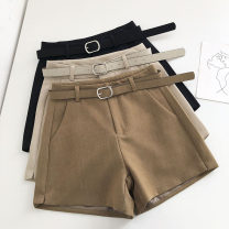 Casual pants Black, apricot, brown S,M,L Summer 2021 shorts Wide leg pants High waist commute routine 18-24 years old 51% (inclusive) - 70% (inclusive) Korean version belt