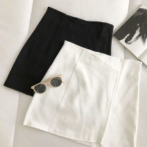 skirt Summer 2021 S,M,L Black, white Short skirt commute High waist Solid color Type A 18-24 years old 51% (inclusive) - 70% (inclusive) zipper Korean version