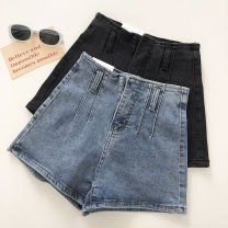 Jeans Summer 2021 Black, blue S,M,L shorts High waist Wide legged trousers routine 18-24 years old 51% (inclusive) - 70% (inclusive)