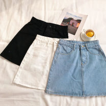 skirt Summer of 2019 S,M,L White, black, blue Short skirt commute High waist A-line skirt Solid color Type A 18-24 years old Korean version