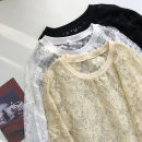 shirt Black, white, beige Average size Spring 2021 other 51% (inclusive) - 70% (inclusive) Long sleeves commute Medium length Crew neck Socket Solid color 18-24 years old Straight cylinder Korean version