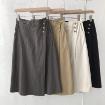 skirt Summer 2021 Average size Khaki, dark grey, black, apricot longuette commute High waist Solid color Type A 18-24 years old 51% (inclusive) - 70% (inclusive) Button Korean version