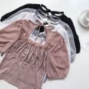 shirt White, black, purple pink, grey blue Average size Summer 2021 other 51% (inclusive) - 70% (inclusive) Short sleeve commute Short style (40cm < length ≤ 50cm) square neck Socket routine Solid color 18-24 years old Self cultivation Korean version Lace up, stitching, Auricularia auricula