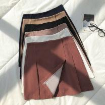 skirt Autumn 2020 S,M,L Short skirt commute High waist Solid color Type A 18-24 years old 51% (inclusive) - 70% (inclusive) zipper Korean version