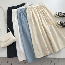 skirt Summer 2021 Average size Apricot, white, black, blue Mid length dress commute High waist Solid color Type A 18-24 years old 51% (inclusive) - 70% (inclusive) pocket Korean version