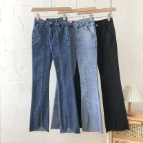 Jeans Summer 2021 Black, dark blue, light blue S,M,L trousers High waist Flared trousers routine 18-24 years old 51% (inclusive) - 70% (inclusive)