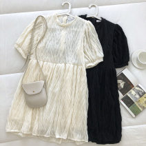 Dress Spring 2021 Black, apricot Average size Short skirt singleton  Short sleeve commute Crew neck Solid color Socket 18-24 years old Type A Korean version fold 51% (inclusive) - 70% (inclusive)