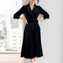 Dress Spring 2021 Black, blue, red XS,S,M,L,XL,2XL Mid length dress singleton  Long sleeves commute tailored collar High waist Solid color zipper Pleated skirt routine Others 30-34 years old Type A Ol style Lace up, stitching, zipper More than 95% other other