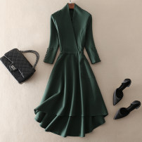 Dress Spring 2021 Green, red S,M,L,XL,2XL Mid length dress singleton  three quarter sleeve street V-neck middle-waisted Solid color Socket A-line skirt routine Others 30-34 years old Type A left lady Lace up, zipper More than 95% other other Europe and America