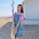 Dress Summer 2020 Purple, white S,M,L Middle-skirt singleton  Short sleeve commute One word collar High waist Solid color Socket A-line skirt bishop sleeve Others 25-29 years old Type A Other / other Korean version