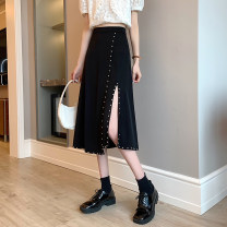 skirt Spring 2021 S,M,L Black, beige Mid length dress commute High waist A-line skirt Solid color Type A 18-24 years old Nail bead Korean version
