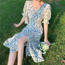 Dress Spring 2021 Blue dress with white background S,M,L longuette singleton  Short sleeve commute V-neck High waist Broken flowers Socket A-line skirt puff sleeve 18-24 years old Type A Korean version