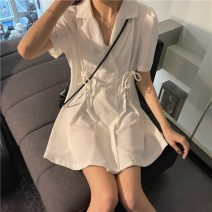 Dress Summer 2021 White, black S, M Middle-skirt singleton  Short sleeve commute tailored collar High waist Solid color double-breasted A-line skirt routine 18-24 years old Type A Korean version Frenulum