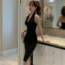 Dress Summer 2021 black S,M,L,XL Middle-skirt singleton  Sleeveless commute V-neck middle-waisted Solid color zipper One pace skirt routine Hanging neck style 25-29 years old Type H Korean version backless More than 95% other other