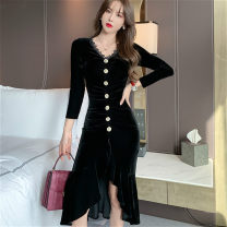 Dress Spring 2021 black S,M,L Middle-skirt singleton  Short sleeve commute V-neck middle-waisted Solid color zipper Ruffle Skirt routine Others 25-29 years old Type X Korean version Ruffles, stitching, buttons More than 95% other other