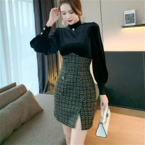 Dress Spring 2021 black S,M,L Short skirt singleton  Long sleeves commute stand collar High waist Solid color zipper One pace skirt routine Others 25-29 years old Type H Korean version Button, button 81% (inclusive) - 90% (inclusive) other other