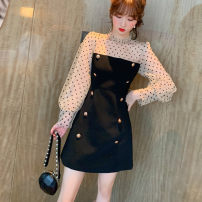 Dress Spring 2021 black S,M,L Short skirt singleton  Long sleeves commute stand collar High waist Dot zipper A-line skirt bishop sleeve Others 25-29 years old Type A Korean version Splicing, mesh More than 95% other other