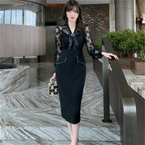 Dress Spring 2021 black S,M,L Mid length dress singleton  Long sleeves commute V-neck middle-waisted Solid color zipper One pace skirt routine Others 25-29 years old Type H Korean version Bow, cut out, stitching, lace 81% (inclusive) - 90% (inclusive) other other
