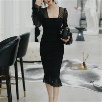 Dress Spring 2021 black S,M,L,XL Middle-skirt singleton  Long sleeves commute square neck middle-waisted Solid color zipper Ruffle Skirt bishop sleeve Others 25-29 years old Type X Korean version Ruffles, stitching, mesh More than 95% other other
